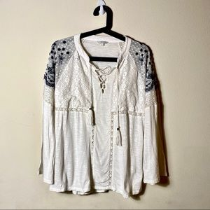 Lucky Brand | Embroidered Lace Tasseled Tie Top